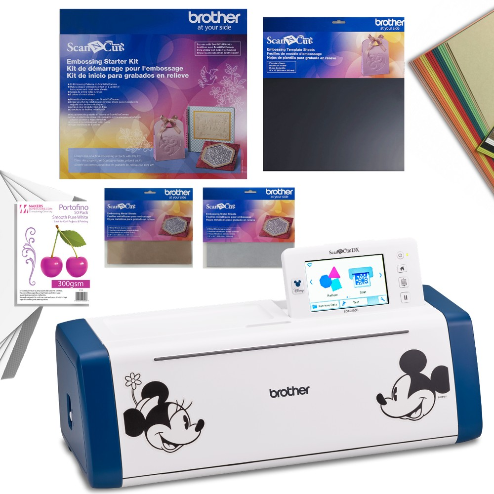 Brother ScanNCutSDX2200D Machine with Emboss It Collection & 80 Sheets of Cardstock