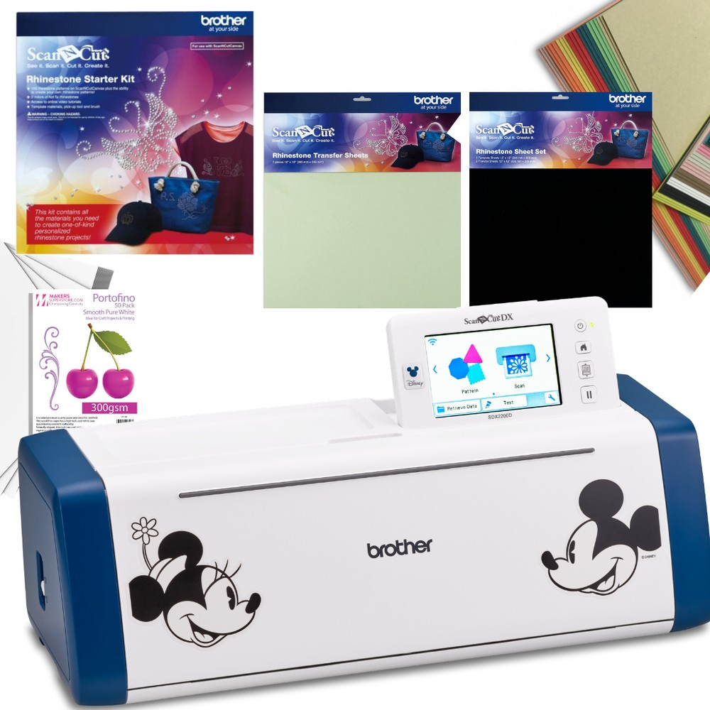 Brother ScanNCutSDX2200D Machine with Bling It Rhinestone Collection & 80 Sheets of Cardstock