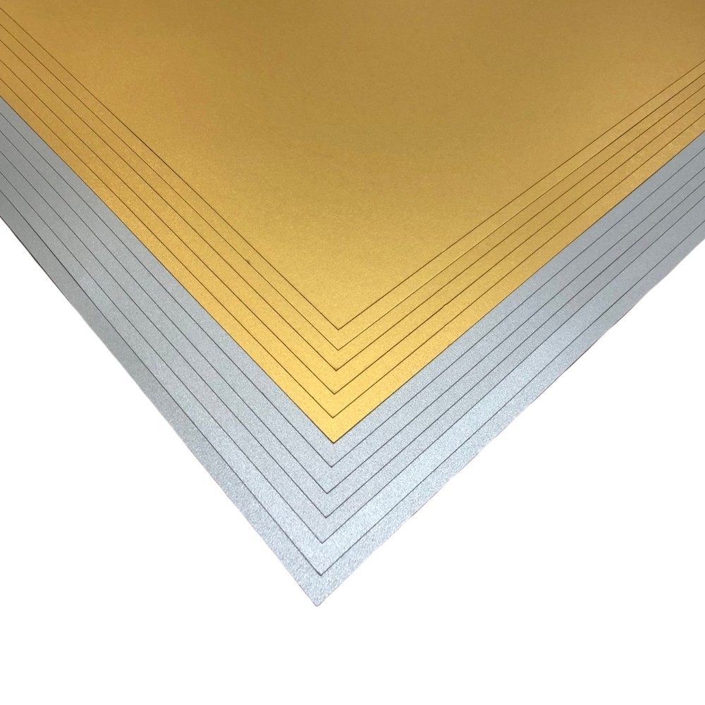 Makers 12x12 Premium Pearlescent Cardstock Christmas Collection - Gold and Silver - 12 Sheets
