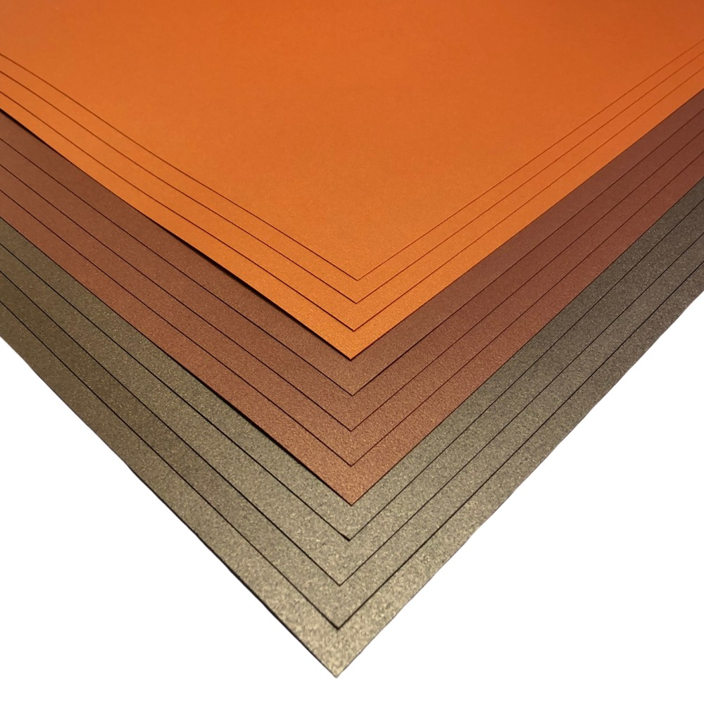 Makers 12x12 Premium Pearlescent Cardstock Christmas Collection - Brown, Copper and Orange - 12 Sheets