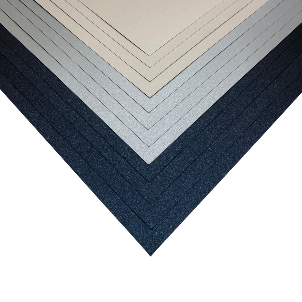 Makers 12x12 Premium Pearlescent Cardstock Christmas Collection - Navy, Silver, Pale Silver - 12 Sheets