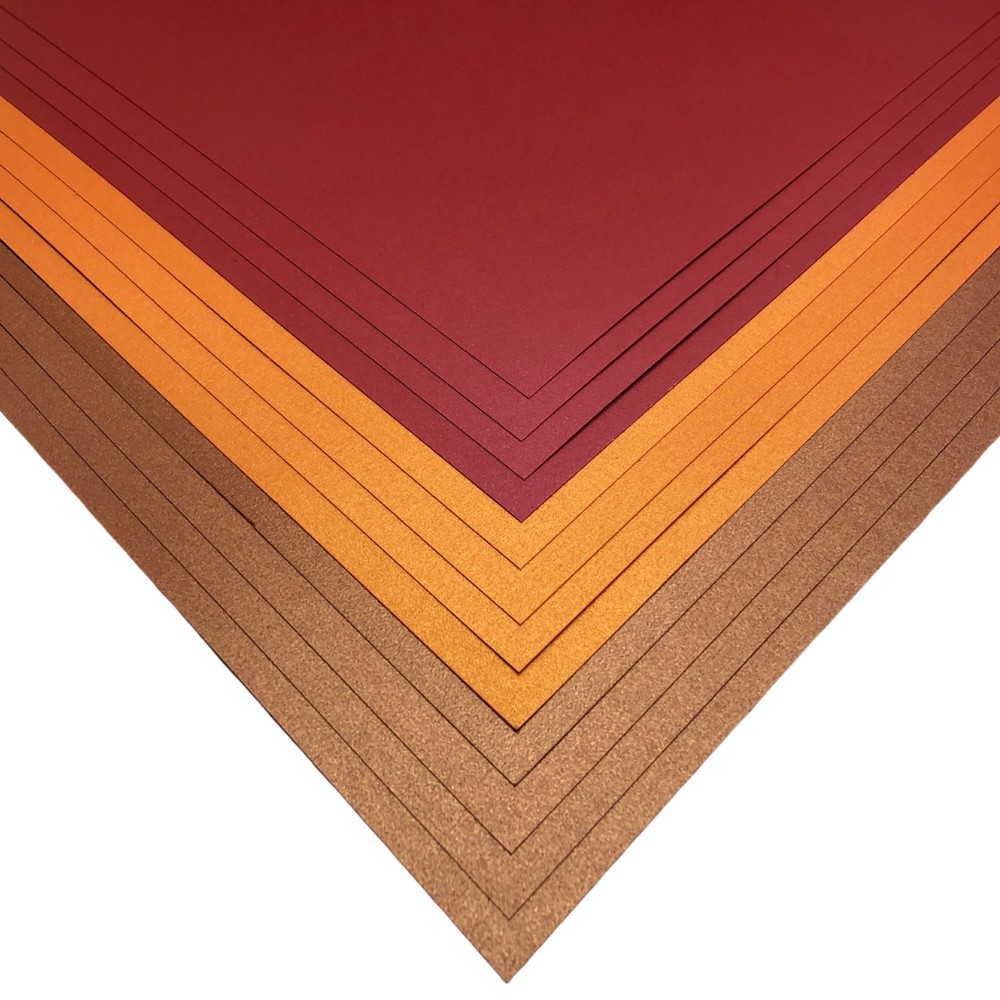 Makers 12x12 Premium Pearlescent Cardstock Christmas Collection - Red, Copper and Orange - 12 Sheets