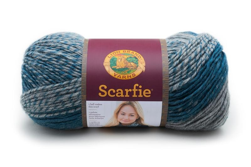 Lion Brand Scarfie Teal/Silver