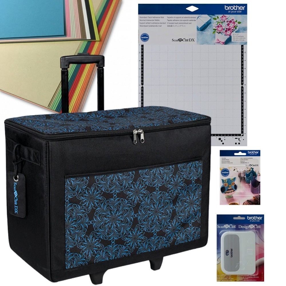 Brother SDX On the Go Collection - Rolling Tote, Auto Blade, 12x12 Mat, Scraper and Cardstock