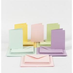 Cards and Envelopes - Pastels & White - Pack of 70 - Assorted Sizes