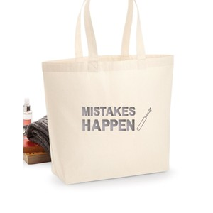 Makers Mistakes Happen Unpicker Tote Bag Silver