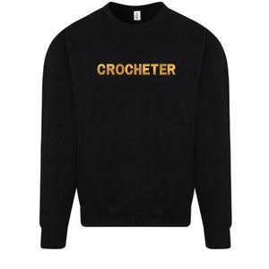 Makers Crocheter Crew Sweatshirt Black Gold