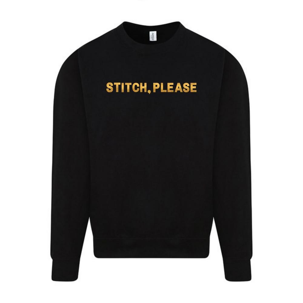 Makers Stitch Please Crew Sweatshirt Black Gold