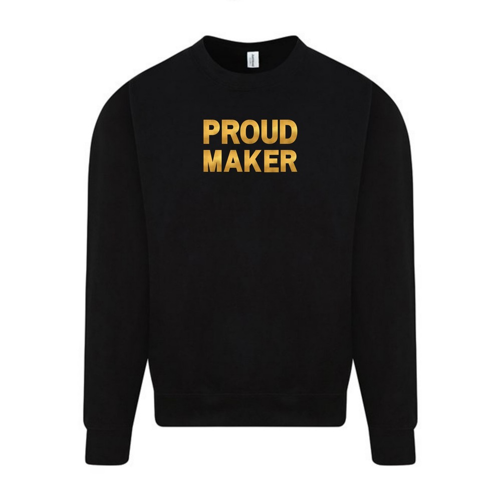Makers Proud Maker Crew Sweatshirt Black Gold
