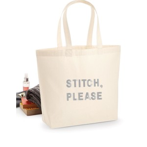 Makers Stitch Please Tote Bag Silver