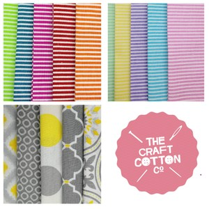 Craft Cotton Company Fat Quarters - Pastel Stripes, Bright Stripes and Yellow Matters