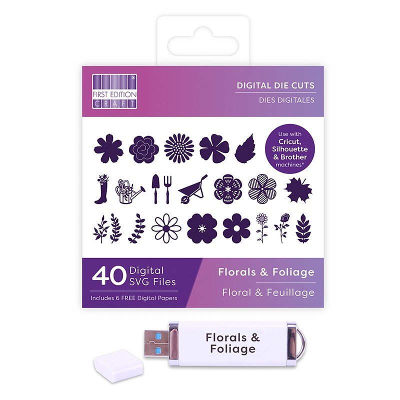 First Edition Digital Dies USB - Florals and Foliage