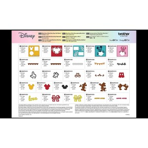 Brother ScanNCut Disney Card - Mickey & Minnie Paper Craft Collection X 26 Designs