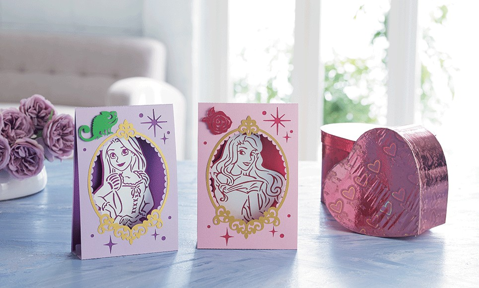 Brother ScanNCut Disney Card No8 - Rapunzel and Aurora Paper Craft Collection X 30 Designs