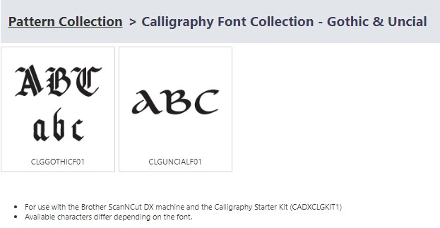 Brother ScanNCut SDX Calligraphy Font Set - Gothic and Unical